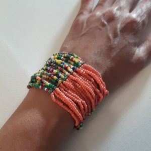 ColourfSeed bead multi layer thick cuff bracelet
